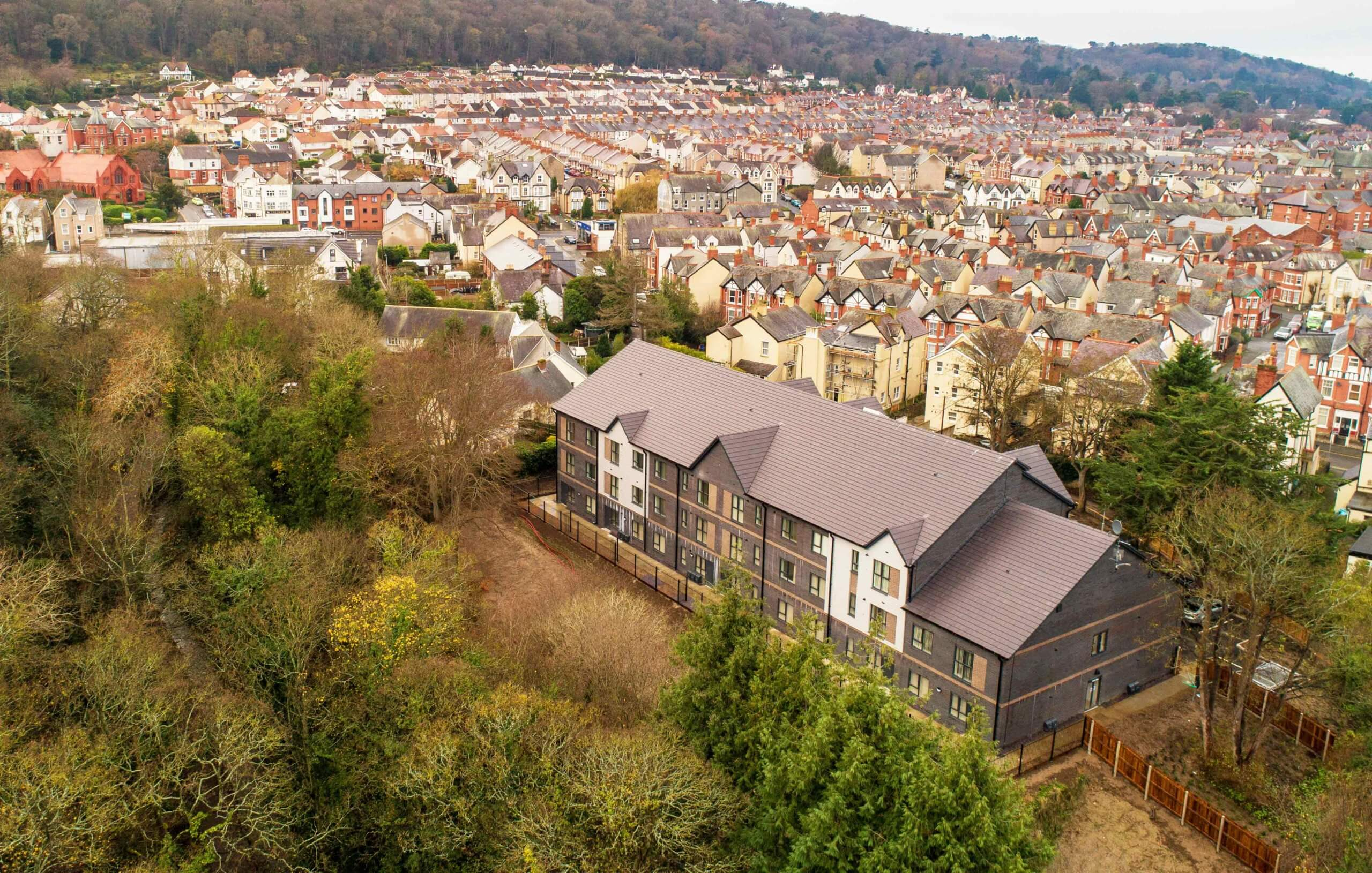 Drone exterior shot at the Edelweiss Hotel, Colwyn Bay